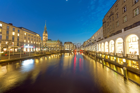 city hall and alster arcades in