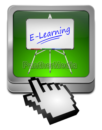 e learning button with cursor