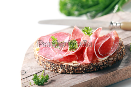 tasty spicy italian salami on wholegrain