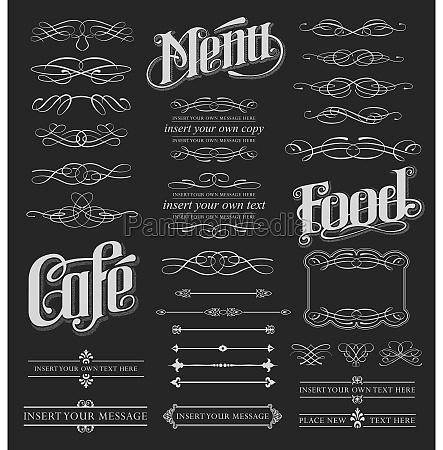 chalkboard calligraphy menu design set