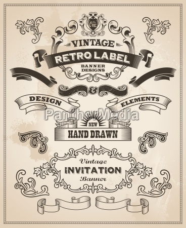 calligraphic design elements vintage banner and