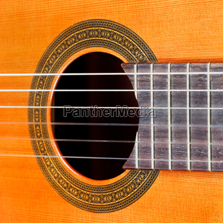 fretboard and sound hole of acoustic