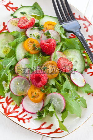 fresh summer salad with raspberries