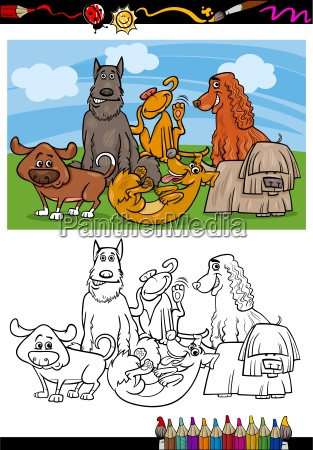 funny dogs cartoon coloring book