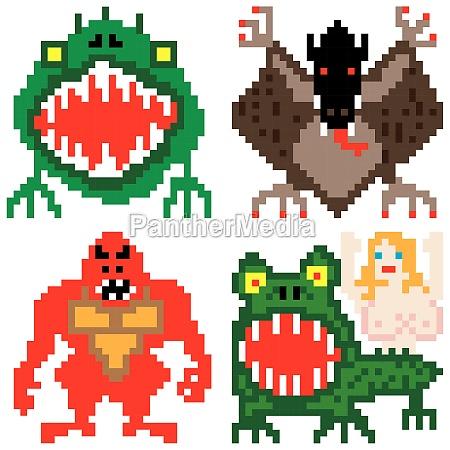 horror terror nightmare monsters pixel art