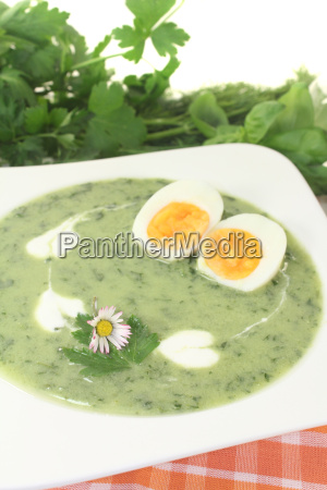 green herbs soup with eggs and
