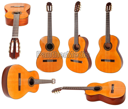 set of classical acoustic guitars isolated