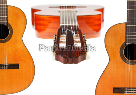 set of spanish acoustic guitars close