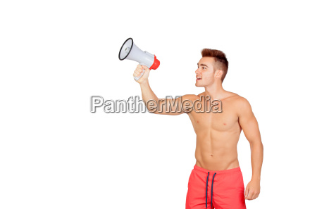 muscular man with megaphone