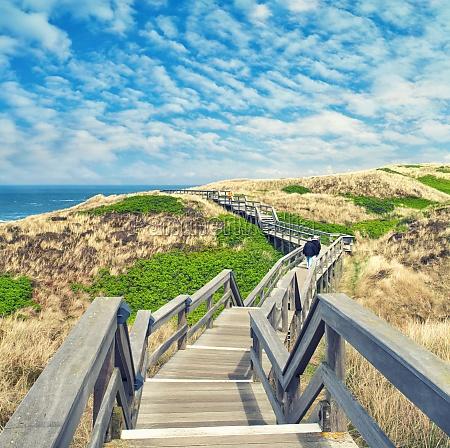 rustic wooden footbridge in the dunes