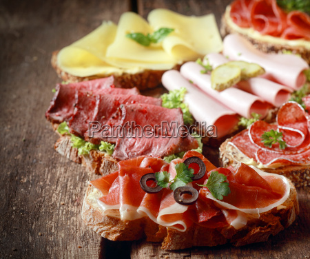 selection of delicious open sandwiches