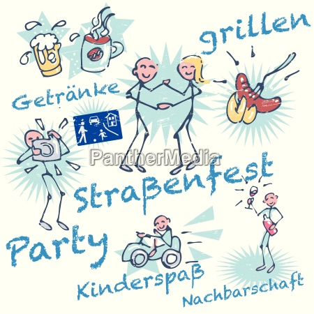 stick figures and street party