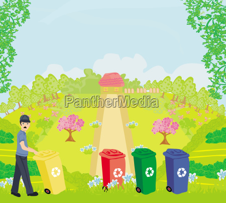 colorful recycle bins ecology concept with