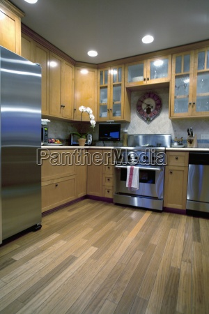 hardwood floor in traditional kitchen laguna