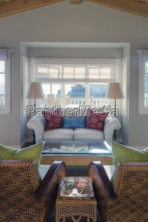 armchairs beach home california coffee table