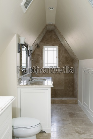 interior of an empty domestic bathroom