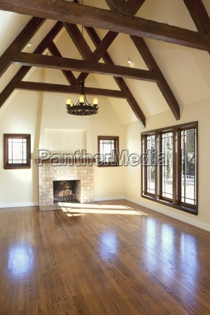 empty living room with hardwood floor