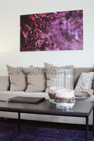 decorative glasses on coffee table in