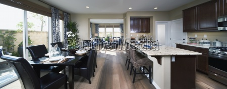 contemporary kitchen and dining area with