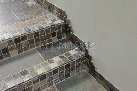 detail mosaic tiles along steps