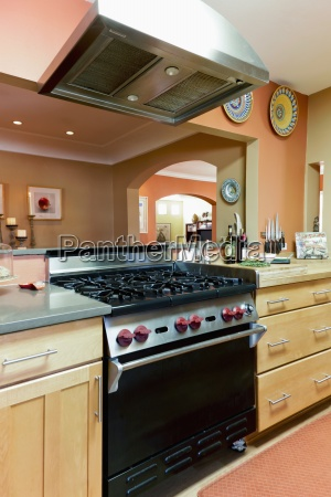 industrial stove in contemporary kitchen santa