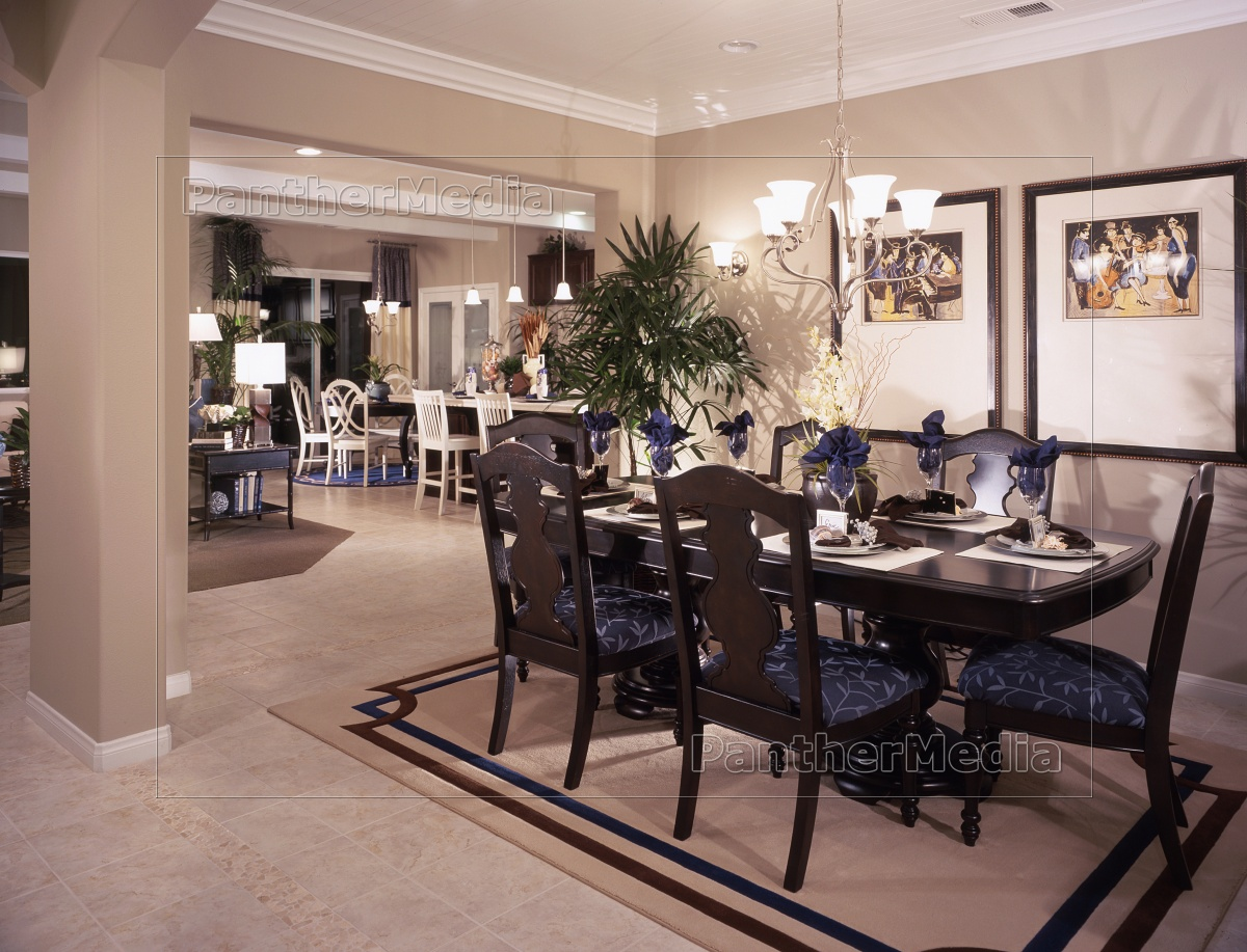 Chandelier Above Dining Table With