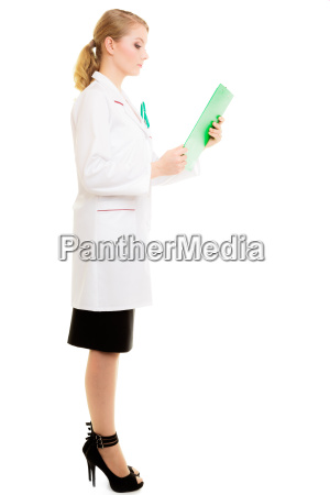 woman doctor in lab coat with
