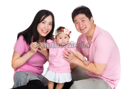 happy family with baby daughter