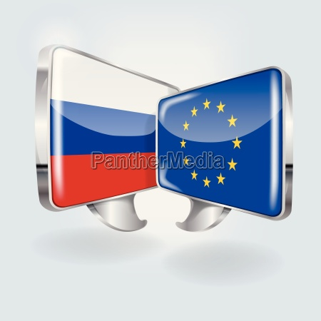 speech bubbles with russia and europe