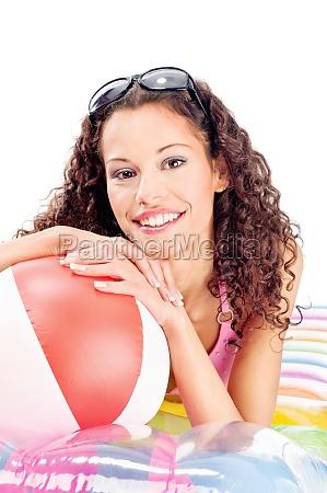 woman on air mattress