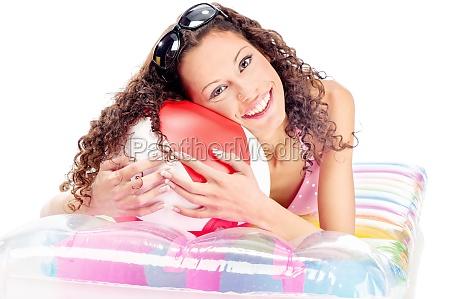 girl on air mattress