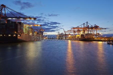container vessel at terminal in harbor