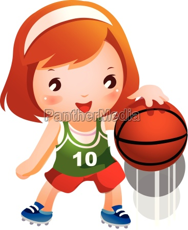 girl bouncing basketball