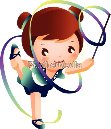 girl practicing rhythmic gymnast performing with