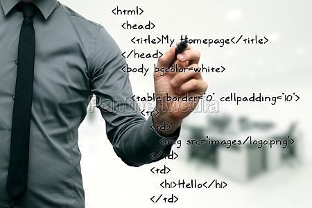 website development programmer writing html