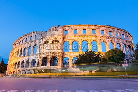 the roman amphitheater of pula croatia