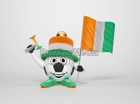 soccer character fan supporting ivory coast