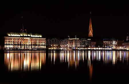 city town night photograph hamburg hamburg