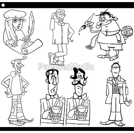 men characters set cartoon illustration