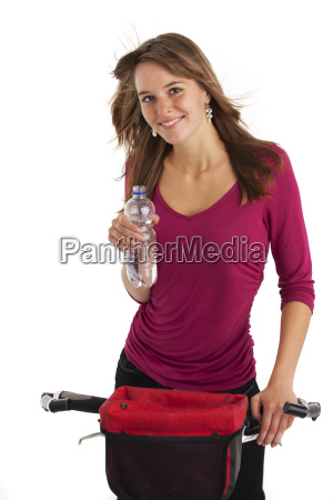 young woman on the mountain bike