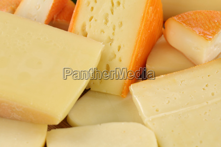 selection of cheeses such as hard