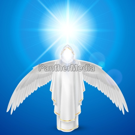 white angel against sky background
