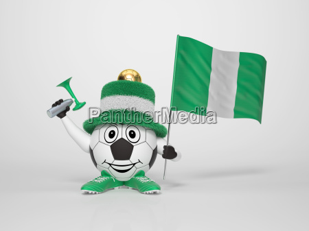 soccer character fan supporting nigeria