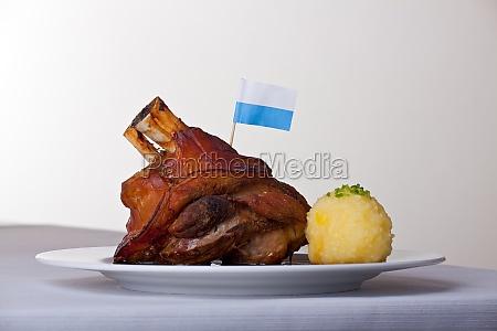 pork with potato dumpling on a