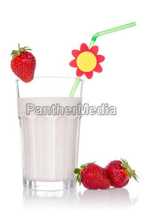strawberry cocktail on white background