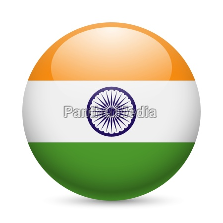round glossy icon of india