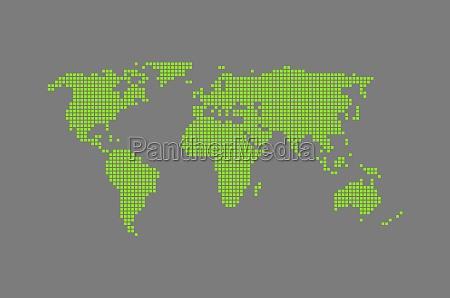 modern world map grey green