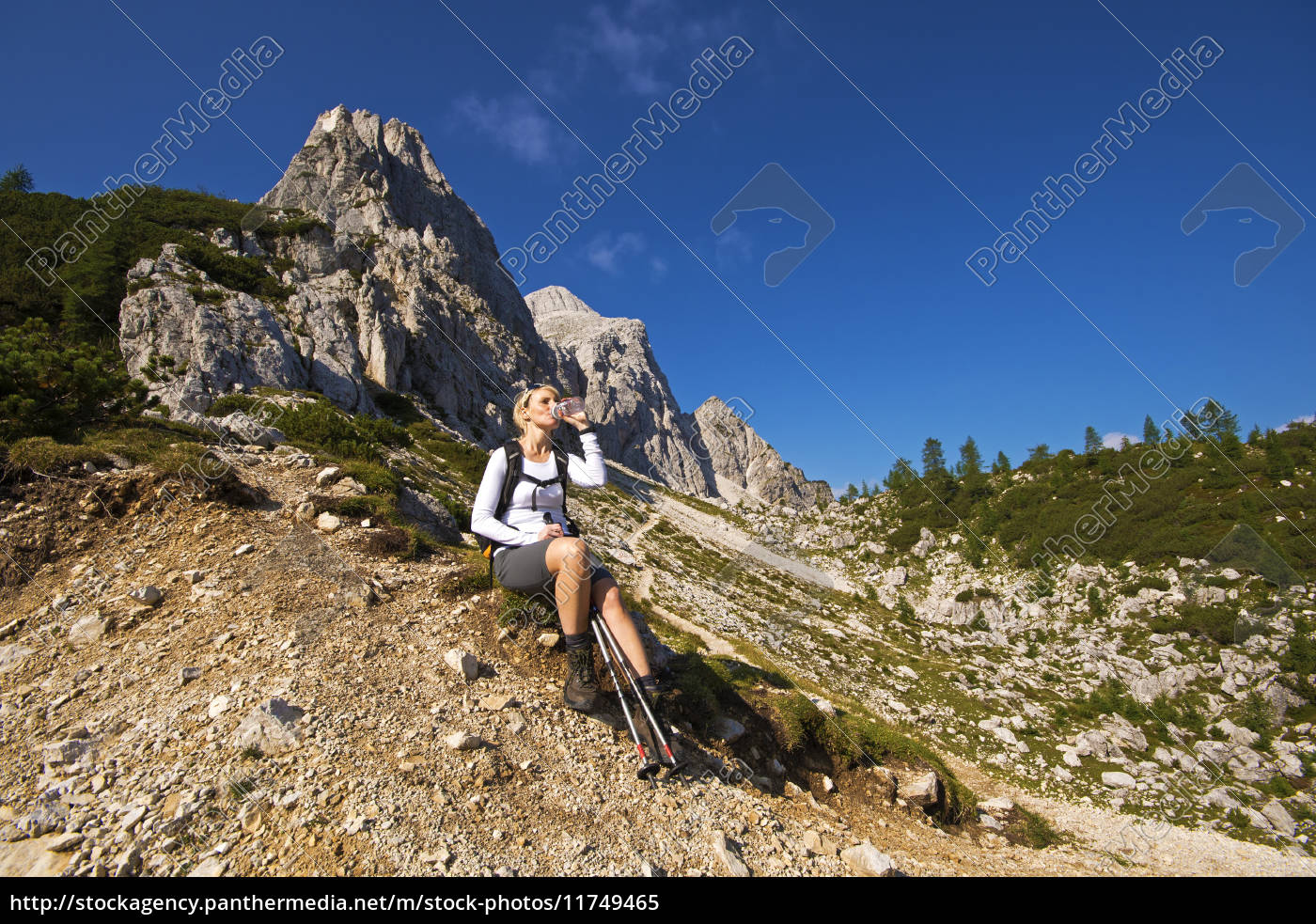 hiker, resting, and, drinking, water - 11749465