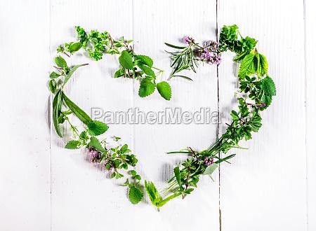 heart shaped frame of fresh culinary