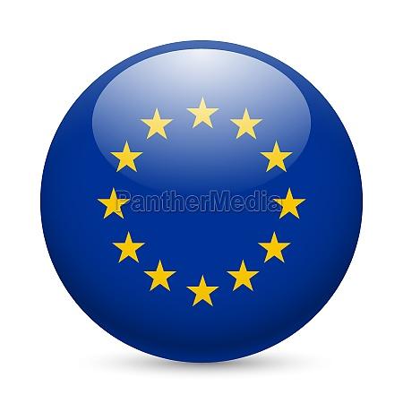 round glossy icon of european union